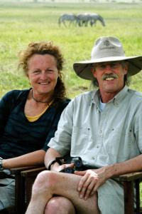 Safari operators Judi Wineland and Rick Thomson at ease in Tanzania's Serengeti National Park.