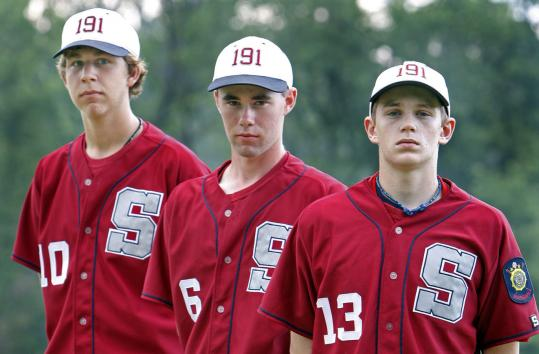Sudbury's American Legion Post 191 is counting on pitchers (from left) Sam Finn, Connor Buckley, and Ryan Wood.