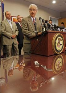 Vermont Attorney General William Sorrell (center), answered questions during a news conference Thursday in Burlington.