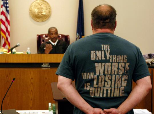 Daniel Kind faced Judge Robert Russell in Veterans Court in Buffalo, N.Y., last month. Veterans can get charges dismissed if they stick to court appearances, drug testing, and counseling.