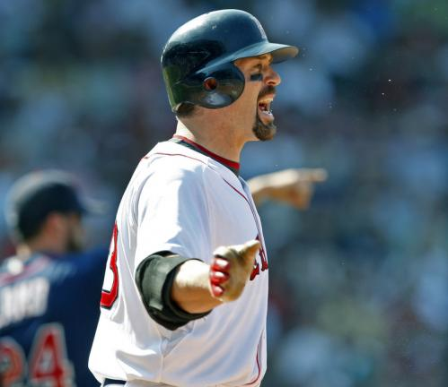 The umpire's original call elicited a reaction of disbelief from Jason Varitek. After the Red Sox protested, the umpires conferred and reversed the call, calling it a 'no catch', negating a potential triple play and bringing Twins manager Ron Gardenhire out of the dugout.