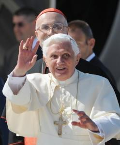 Pope Benedict XVI saluted before boarding a plane for his trip to Australia.