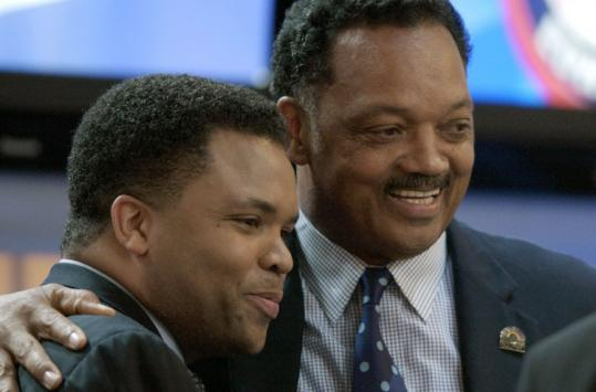 Representative Jesse Jackson Jr. criticized the remarks his father made about presidential candidate Barack Obama.