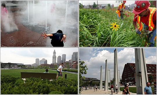 In glimpses of the Greenway, (photos clockwise from upper left), Nicholas Cavallerano, 5, enjoyed a water display; Rui Medeiros removed weeds; pedestrians took a stroll in the Wharf District; the view southward from North End Park.