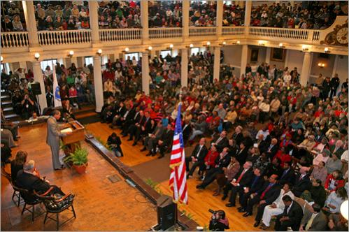 Gov. Deval Patrick addresses a packed audience at the Dr. Martin Luther King Jr. Celebration at Faneuil Hall on Monday, January 15, 2007.