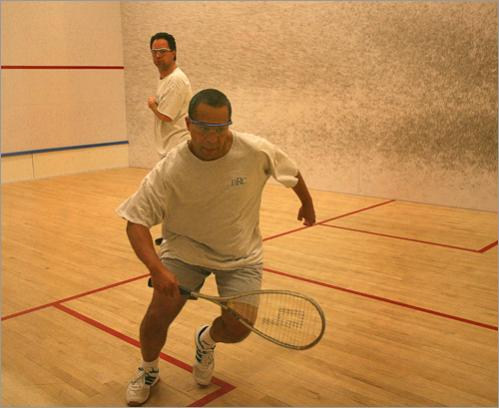 Before starting his work day, Patrick plays squash with Secretary of Energy and Environmental Affairs Ian Bowles at The Boston Racquet Club, on Tuesday, April 3, 2007. Patrick, who won 4-0, hustles toward the ball. 'Sometimes he beats me,' Patrick said. 'It was just my day.'