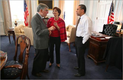 After a morning and early afternoon of speeches in Cambridge, Boston and Westborough, Patrick meets with former Governor Michael Dukakis and his wife Kitty Dukakis in his State House office on Friday, March 30, 2007.