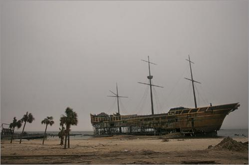 The remains of the Treasure Bay Casino as it sits run aground by Hurricane Katrina's high winds and a tidal surge on the Gulf coast in Biloxi, Friday January 20, 2006. There are only three casinos now operating in Biloxi as a result of Hurricane Katrina, down from 11 casinos originally.