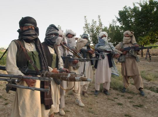 Taliban fighters at an undisclosed location in Ghazni Province on Saturday. Attacks by militants in eastern Afghanistan are up 40 percent this year compared with last year.