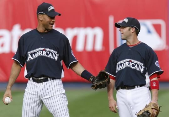 Yankee Derek Jeter is at his ninth All-Star Game, Sox second baseman Dustin Pedroia his first.