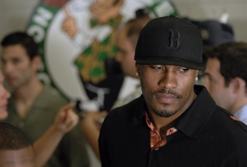 With a Celtics logo behind him, but his future uncertain, James Posey didn't tip his hand about free agent negotiations when he talked to reporters Monday.
