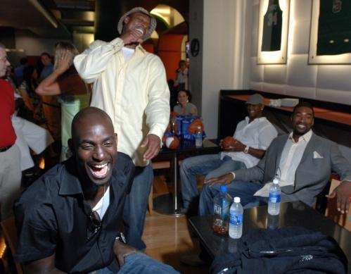 (From left): Kevin Garnett, Paul Pierce, and Leon Powe share a laugh during the DVD premiere.
