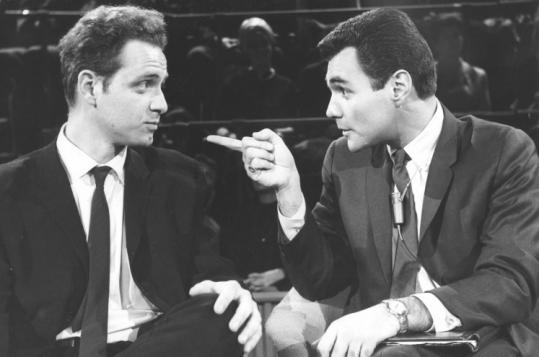 During a taping of 'The Les Crane Show' in December 1964, Mr. Crane (right) interviewed Mario Savio, leader of the 'Free Speech' movement at the University of California at Berkeley.