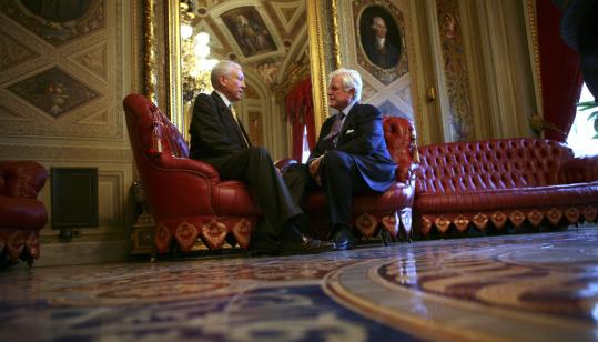 Orrin Hatch (left), a longtime Republican senator, spoke with his liberal colleague Ted Kennedy last September.