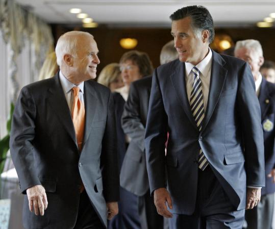 Some analysts said Senator John McCain, shown with Mitt Romney in Denver in March, might undermine his reform message if he picks Romney, someone who bankrolled so much of his own campaign in the primary.