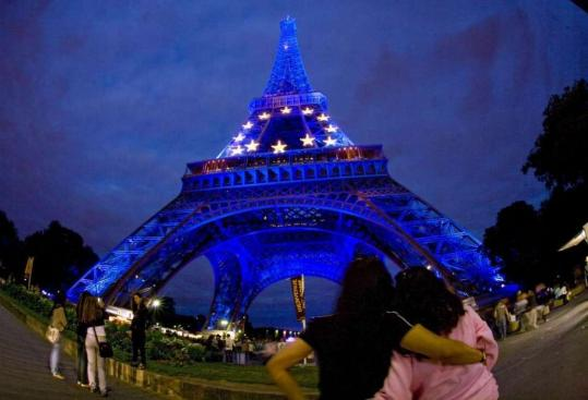 In the City of Light, the Eiffel Tower wore yellow and blue lighting this month in honor of the European Union and to mark the start of France's six-month presidency of the EU.