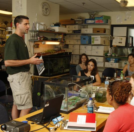 Dave Winchester, a marine biology teacher at Lynn Classical, talked to Boston educators about how to manage aquariums.