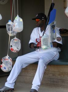 David Ortiz may have been feeling bottled up before the game by all those autograph requests in milk containers.