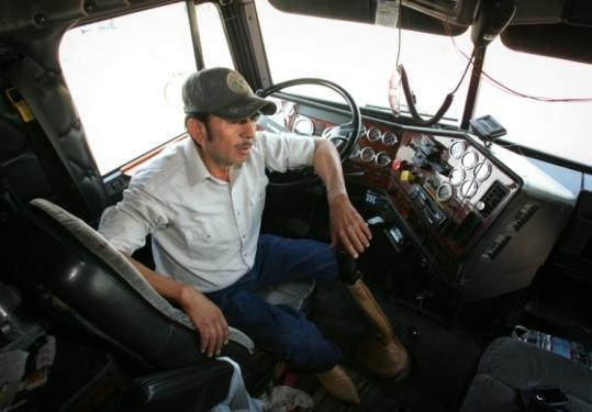 Truck driver Manuel Castillo, 50, talked about a ticket he received driving through Alabama as he sat in Fowler, Calif.