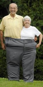 Joel Marsh, inside an old pair of pants with his wife, Dorothy. Marsh now walks 3 to 5 miles a day to keep fit.