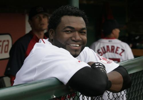 Ortiz leans on the dugout railing before the start of Monday's game. Ortiz had two singles and a walk in four plate appearances, then left in the sixth inning as Portland beat the Connecticut Defenders, 8-2.