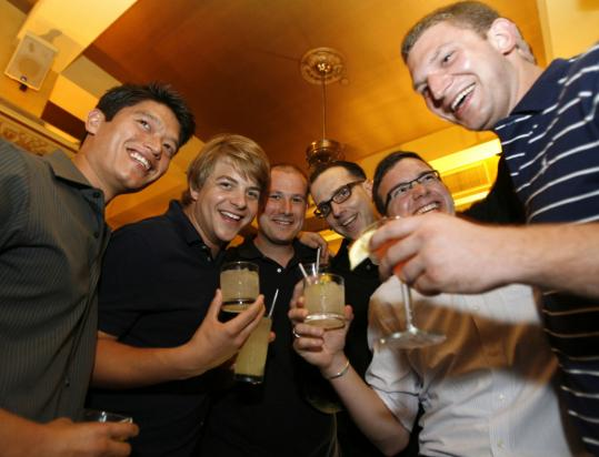 Gathering at the annual Tales of the Cocktail in New Orleans last week are local mixologists (from left) Kevin Beardsley, Brandon Bach, Kevin Martin, Jackson Cannon, Tom Schlesinger-Guidelli, and Steve Diforio.