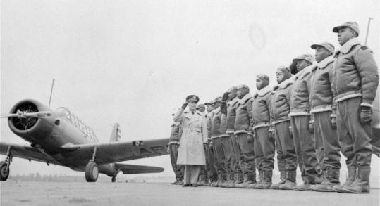 The Tuskegee Airmen were the first group of black fighter pilots allowed into the US Army Air Corps in World War II.