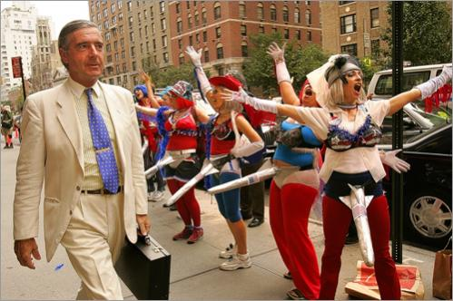 Members of the activist organization Missile Dick Chicks demonstrate in front of the Regency Hotel on Park Avenue in Manhattan on the first day of the 2004 Republican National Convention.