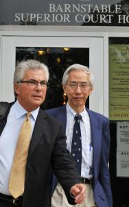 Rapin Osathanondh (right) left Barnstable Superior Court with his lawyer after his arraignment yesterday.