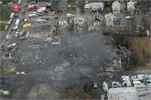 An aerial view the morning after the blast.