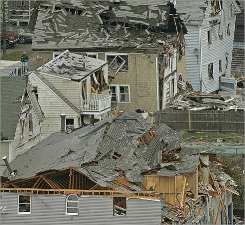 The Water Street area in Danvers where homes and business property were destroyed.