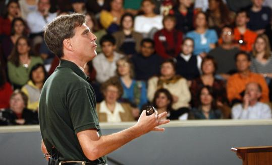 Randy Pausch gave a lecture on time management to a packed house at at the University of Virginia's Charlottesville campus on Nov. 27, 2007. The book 'The Last Lecture' is a best-seller.