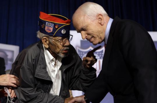 Senator John McCain greeted a veteran yesterday at the American GI Forum Convention in Denver.