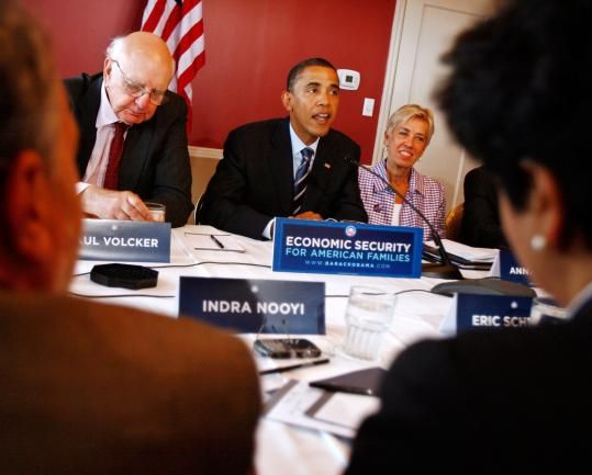 Senator Barack Obama met yesterday with more than a dozen economic advisers including former Federal Reserve chairman Paul Volcker at the Omni Shoreham Hotel in Washington.