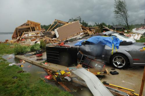 The house of Brenda and Harley Stevens sits destroyed on their Deerfield lot.