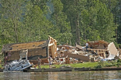 The Deerfield home of Harley and Brenda Stevens after the tornado struck. Brenda Stevens died when the home collapsed.