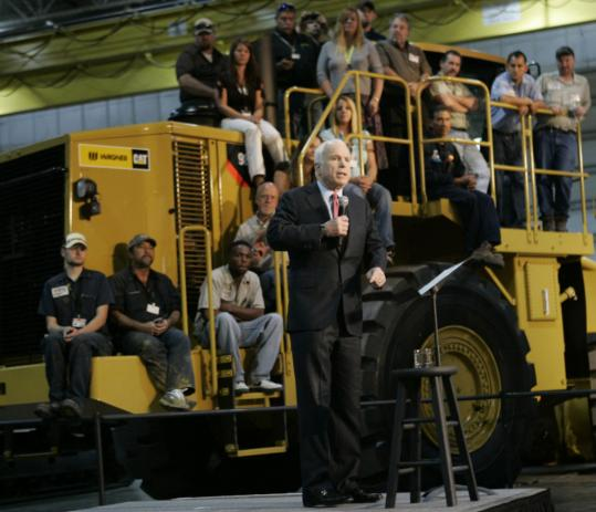 Senator John McCain spoke yesterday at the Wagner Equipment Co. in Aurora, Colo.