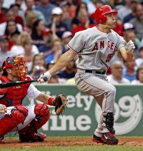 The Angels' Mark Teixeira gave the ball a good ride on his first swing in his new uniform, but it ended up just a long out.