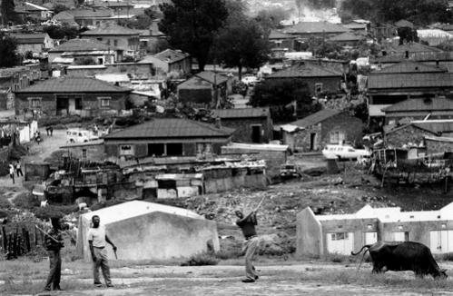 On a Sunday afternoon golfers practice on a dirt field overlooking Alexandra Township on February 23, 1986. About 10,000 families in the black ghetto are on the official waiting list for new housing.