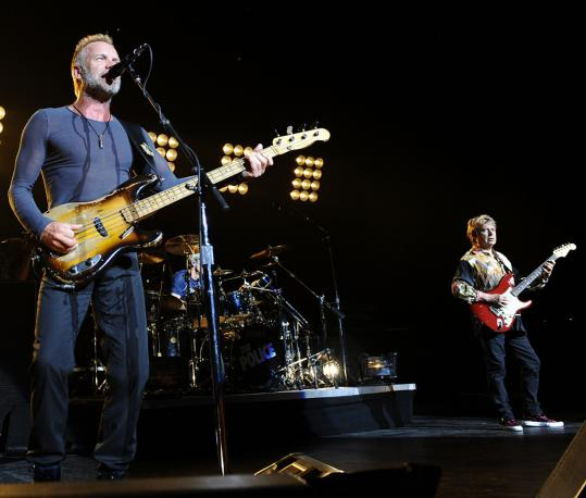 In what was likely the band's last Bay State concert, Sting (left) and the Police played a 100-minute set of hits and album cuts Thursday night at the Comcast Center.