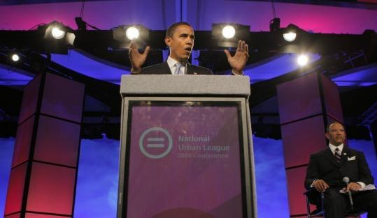 Barack Obama at a National Urban League conference yesterday in Orlando with the group's president, Marc Morial.