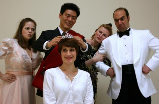 Opera del West cast members performing a Rossini opera, ''La Cenerentola,'' in two formats this weekend in Natick include (clockwise, from left) Katherine Turner, Jason Wang, Christina Calamaio, Bülent Güneralp, and Megan Roth.