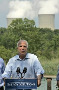 Republican presidential candidate John McCain toured the Enrico Fermi Nuclear Plant in Newport, Mich., yesterday. McCain is calling for construction of new nuclear power plants.