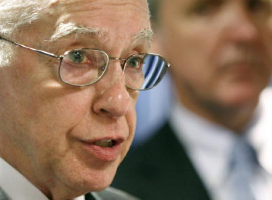 US Attorney General Michael Mukasey at press conference yesterday announcing the indictment of 11 people in the theft of credit card numbers.