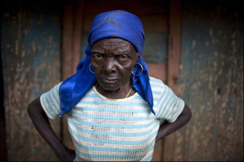Farmer Silvia Louau poses for a photo at her home in Decouez, Haiti, Friday, July 11, 2008.
