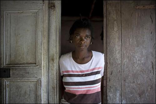 Manushca Antoine, 20, poses for a photo at her home in Cabaret, Haiti, Thursday, July 10, 2008.