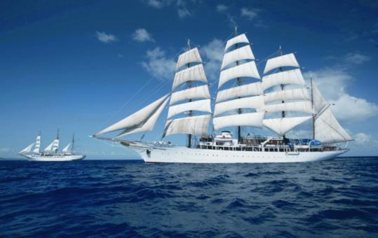 The yachts Sea Cloud and Sea Cloud II smartly ply the seas for travelers booked with Academic Arrangements Abroad.