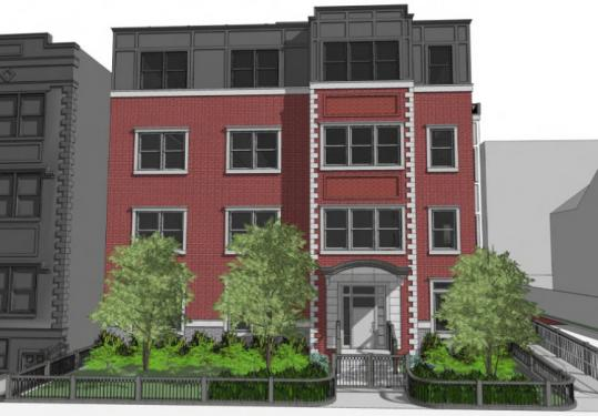 An architect's rendering of the building proposed for 109 Sewall Ave. in Brookline. It would house eight condos.