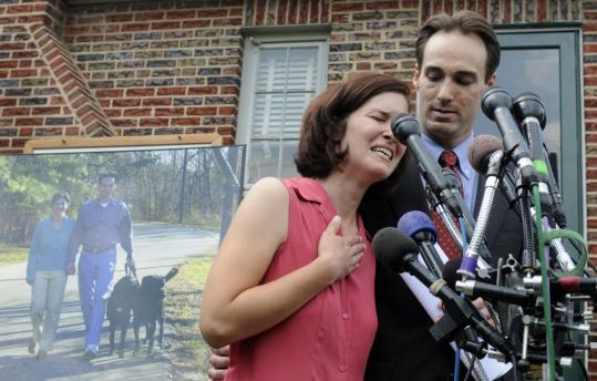 Mayor Cheye Calvo and wife Trinity Tomsic at a news conference at their house in Berwyn Heights yesterday. They are asking the US Justice Department to investigate the July 29 raid.