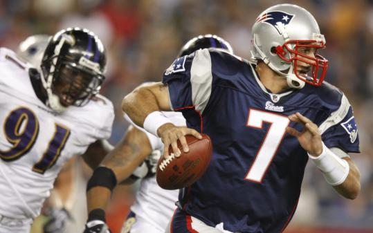 As if he wasn't under enough pressure, Patriots quarterback Matt Gutierrez got harassed by the Ravens' Edgar Jones.